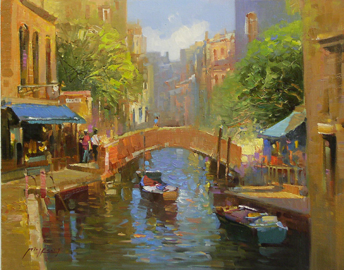 Shops Along the Canal by Ming Feng